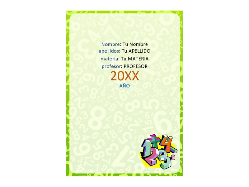 Caratula y Portada de Matemáticas en Word 9