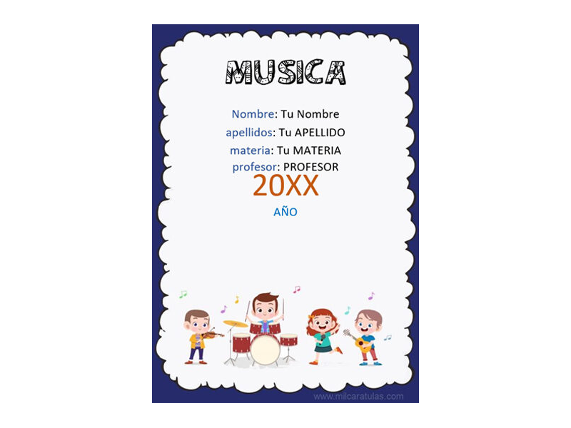 Caratula y Portada de Musica en Word 4