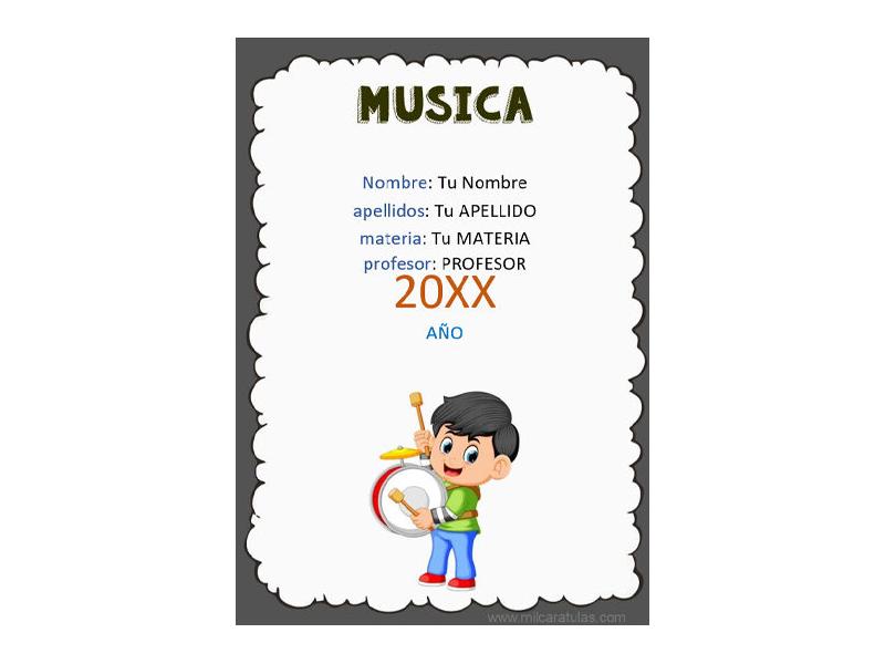 Caratula y Portada de Musica en Word 5