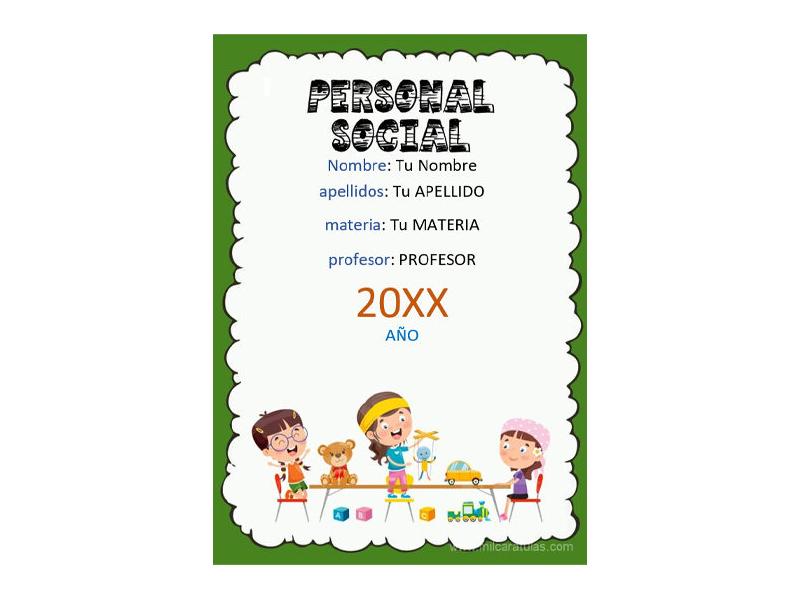 Caratula y Portada de Personal Social en Word 1