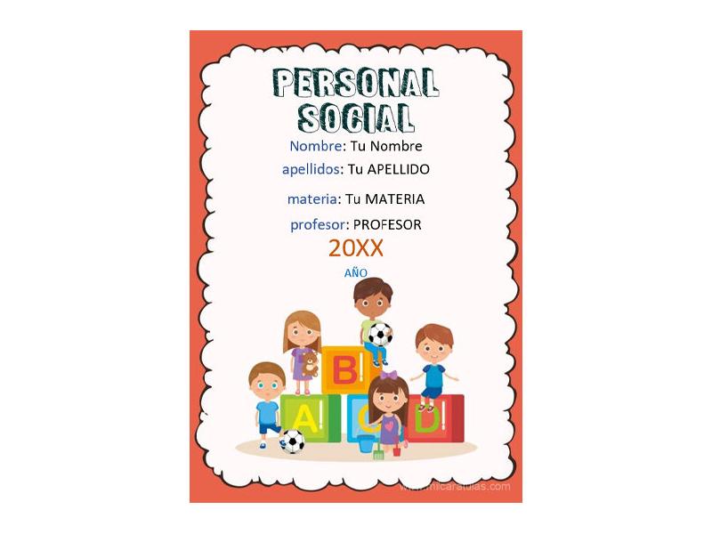 Caratula y Portada de Personal Social en Word 2
