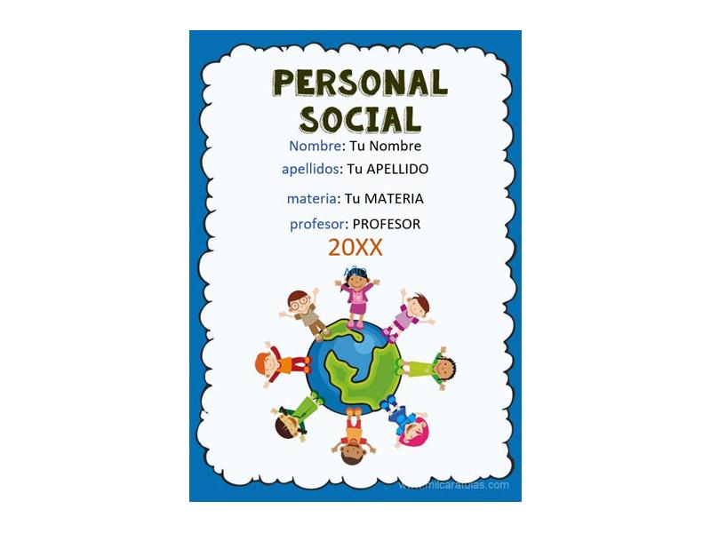 Caratula y Portada de Personal Social en Word 3