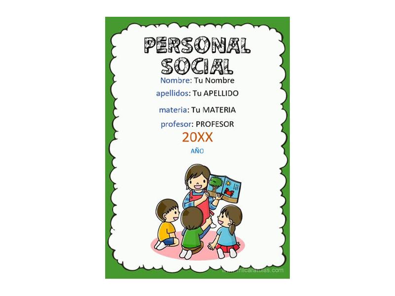 Caratula y Portada de Personal Social en Word 5