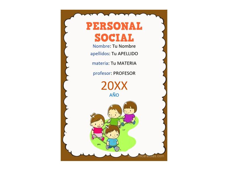 Caratula y Portada de Personal Social en Word