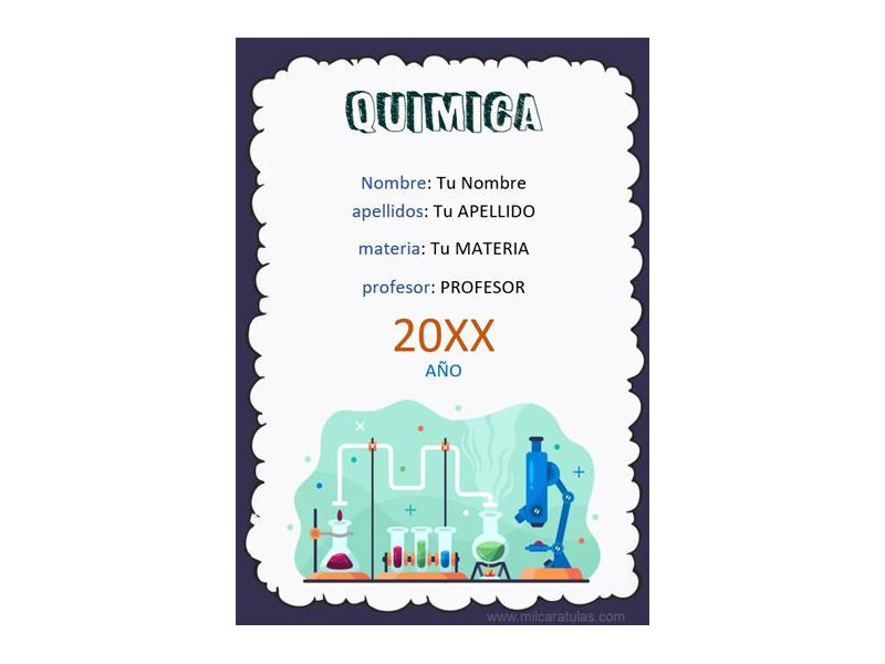 Caratula y Portada de Química en Word 7