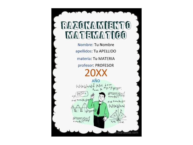 Caratula y Portada de Razonamiento Matemático en Word 5