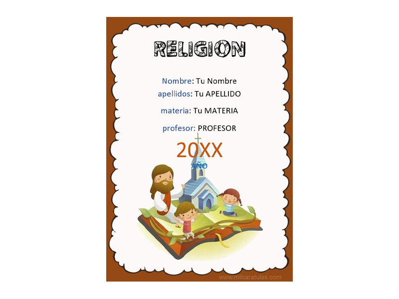Caratula y Portada de Religión en Word 2