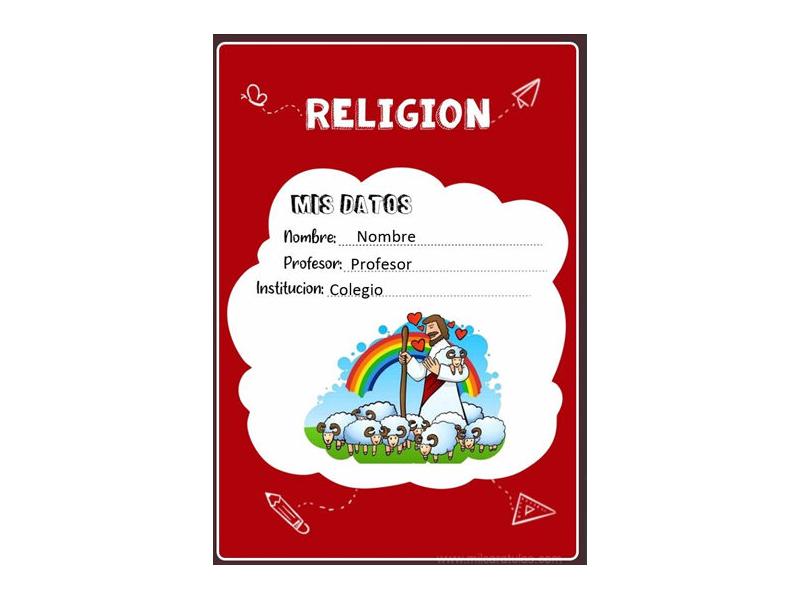 Caratula y Portada de Religión en Word 24