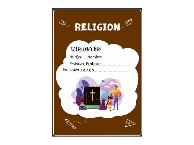 Caratula y Portada de Religión en Word 26