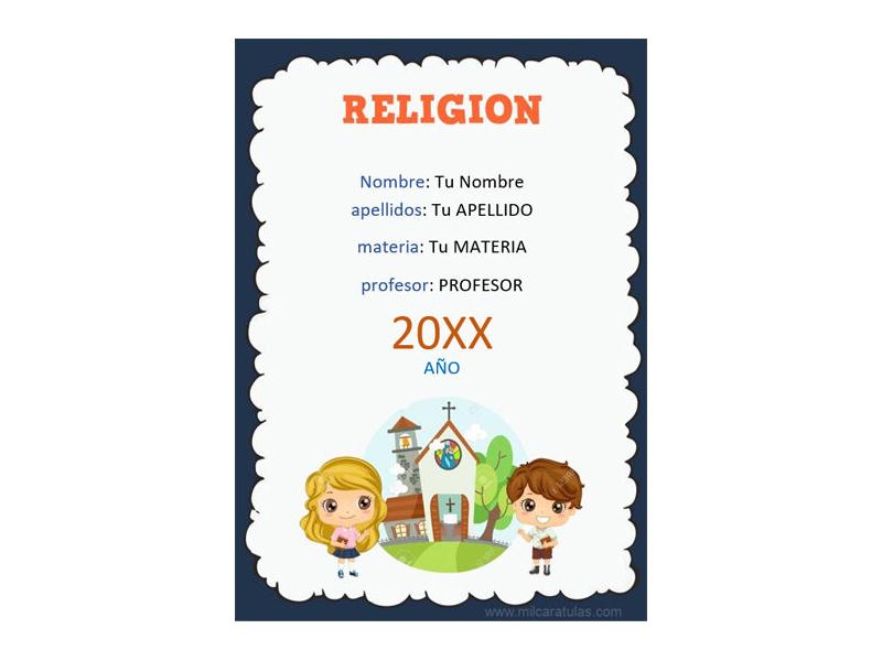 Caratula y Portada de Religión en Word 4