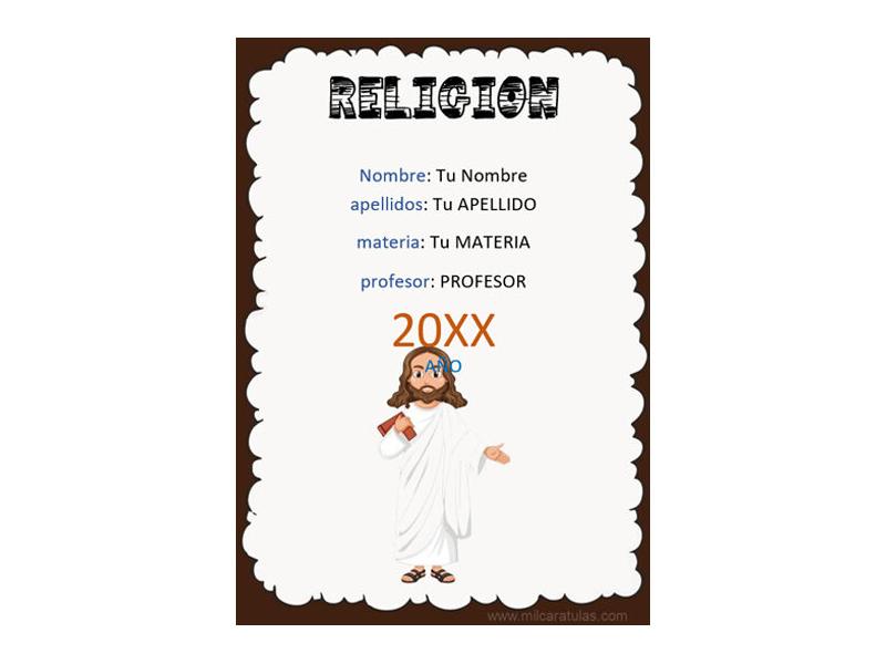 Caratula y Portada de Religión en Word 6