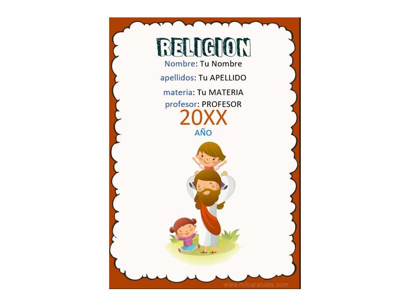 Caratula y Portada de Religión en Word 7