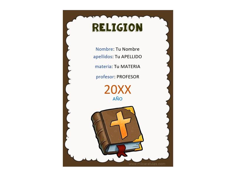 Caratula y Portada de Religión en Word